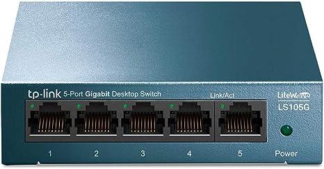 TP-LINK TL-SG105 5-Ports Gigabit Ethernet Switch Desktop//Wall-Mount Metal Case