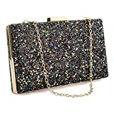 Glitter Sequin Clutch Bag with Hanging Strap Evening Bags Handbags Wedding Clutch Purse for Women Ladies Gift Ideal (Black)