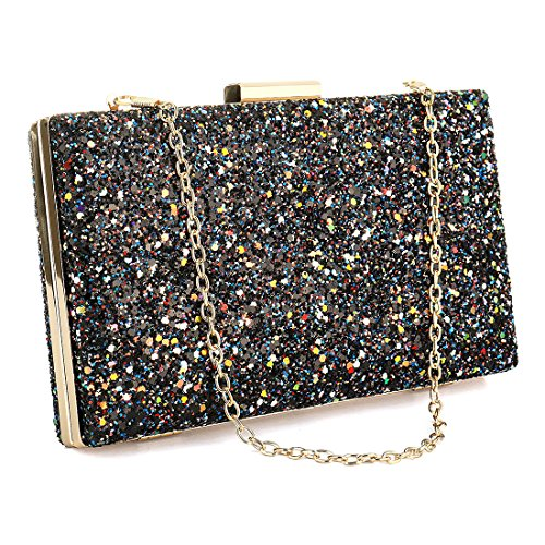Sequin Purse (Glitter Sequin Clutch Bag with Hanging Strap Evening Bags Handbags Wedding Clutch Purse for Women Ladies Gift Ideal (Black))