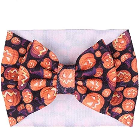 7 Large Knot Bow Halloween Headband Pumpkin Ghost Printed Girls Headwrap Big Hair Bow Elastic Turban Kids Hair Accessories,style 4-ghost