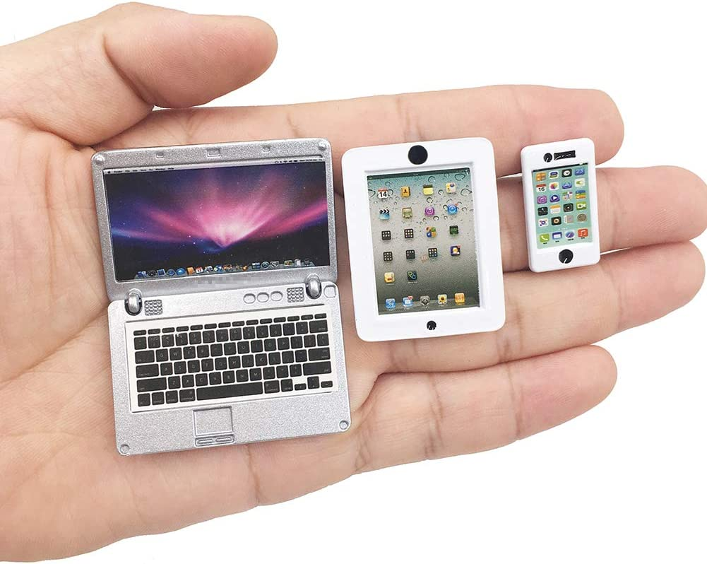HH-Eason 3 Pack Dollhouse Mini Laptop Tablet and Smart Phone Scene Computer Simulation Accessories for Doll 1/6 1/12 Miniatures Silver (White).