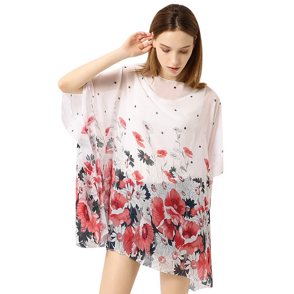 Athli Chiffon Printing Sleeves Irregular Hem Bikini Blouse Ladies Swimwear Pullover Swimsuit Cover (White)