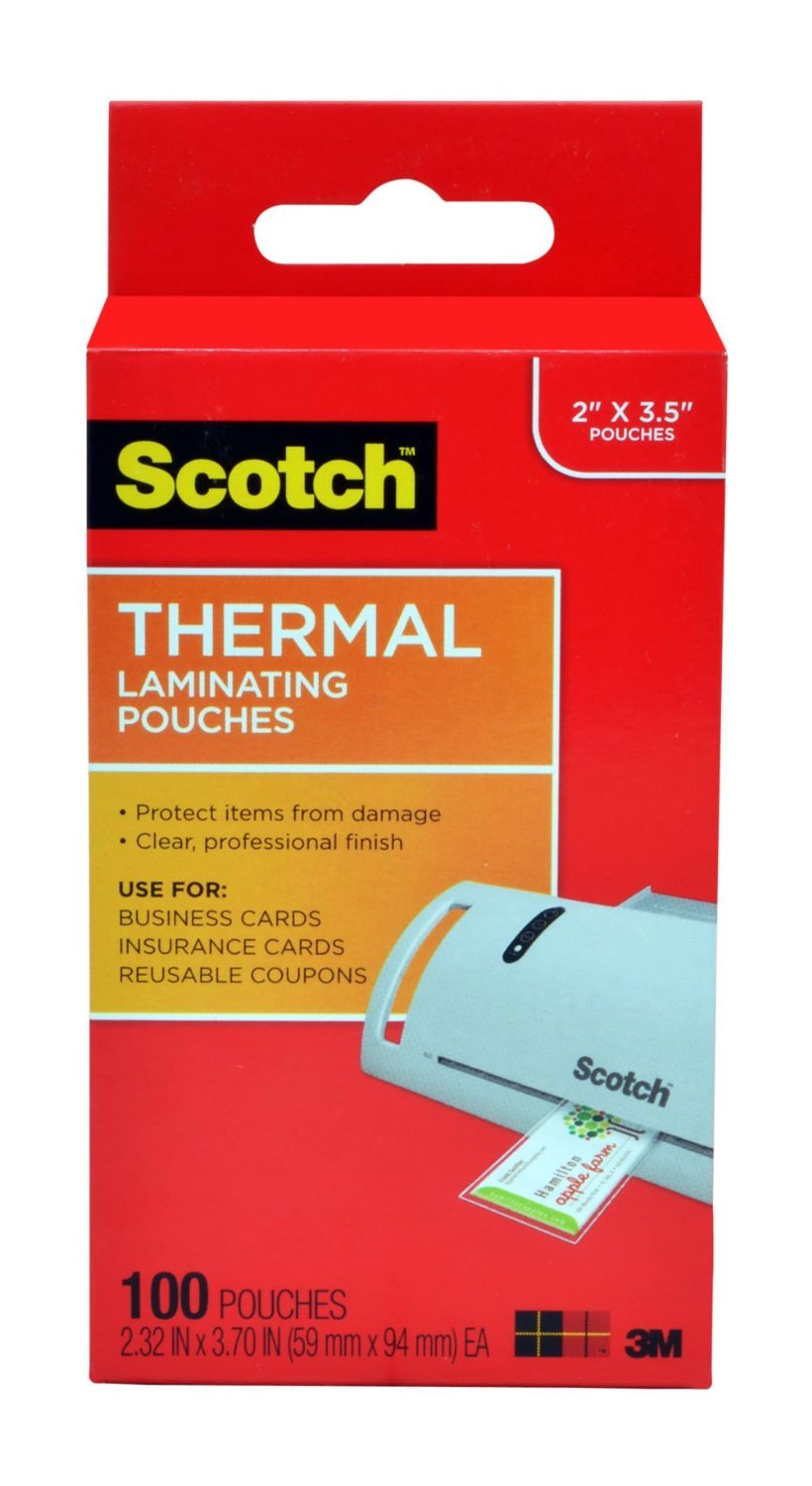 Amazon scotch thermal laminating pouches 232 x 370 inches amazon scotch thermal laminating pouches 232 x 370 inches business card size 100 pack tp5851 100 office products magicingreecefo Images