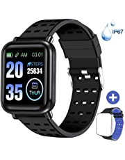Fitness Trackers - ANCwear Bluetooth Smart Watches with Heart Monitor and Blood Pressure, Waterproof Activity Trackers with Sleep Monitor & SMS Call Notification, Pedometer Watch for Men Women Kids
