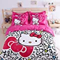 FADFAY 4Pcs Hello Kitty Queen Size Duvet Cover Bedding Sets 100% Cotton