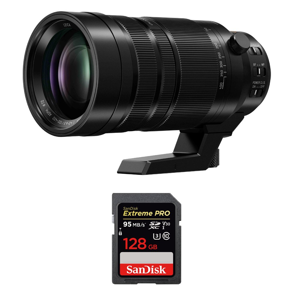 Panasonic (H-RS100400) LUMIX LEICA DG VARIO-ELMAR 100-400mm F/4.0-6.3 ASPH Power OIS Lens w/ Sandisk Extreme PRO SDXC 128GB UHS-1 Memory Card by Beach Camera