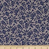 Rayon Challis Traditional Floral Mauve/Blue Fabric By The Yard