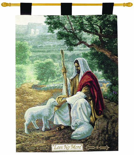Sheep Tapestry - Manual Inspirational Collection 26 X 36-Inch Wall Hanging and Finial Rod, Lost No More by Greg Olsen
