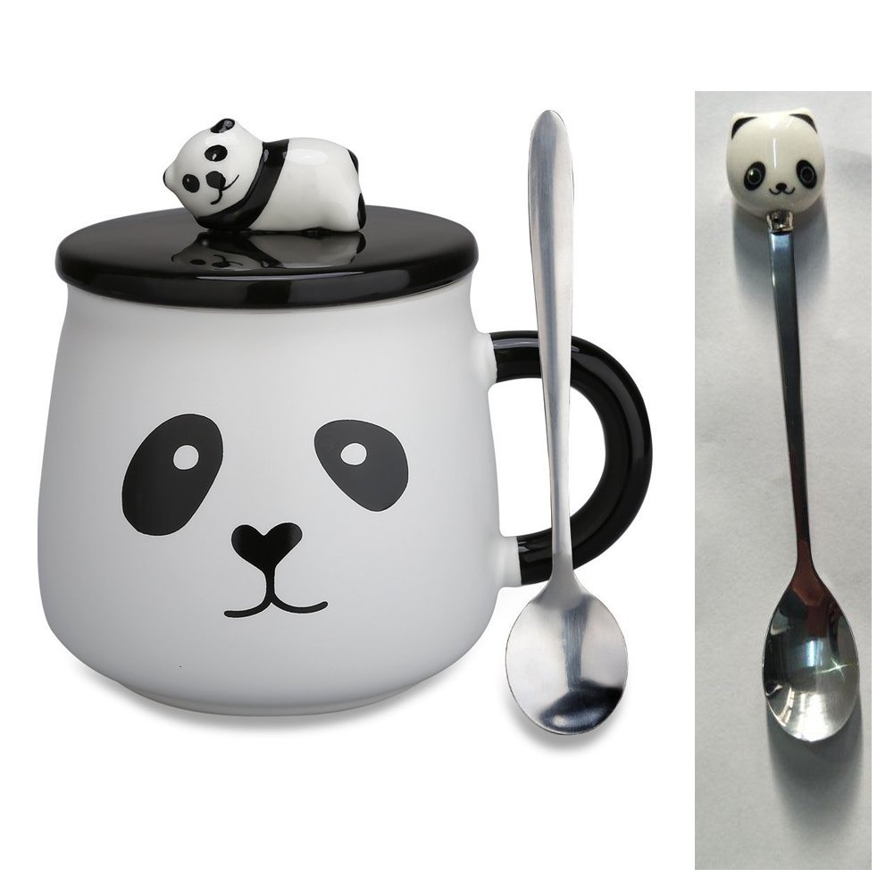 Errilol Lovely Cute 3D Panda Ceramic Novelty Coffee Mug Milk Tea Cup with Funny Lid and Stainless Steel Spoon-Perfect for Mom Girls Girlfriend Wife Panda Lovers Set (Panda Coffee Mug-D)