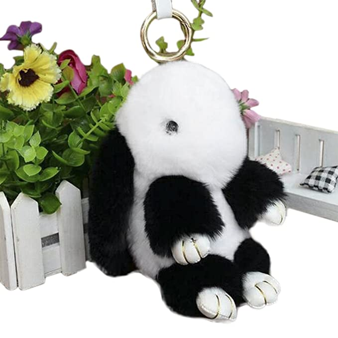 680a62fda9 Amazon.com  Cute Easter Rabbit Bunny Fur Doll Key Chain for Women ...