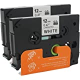 ANMO 2 Pack Compatible Brother P Touch TZe Tape TZe231 TZe-231 TZ231, 1/2 Inch Standard Laminated Tape, Black on White, 0.47 Inch (12mm) x 26.2 Feet (8m)