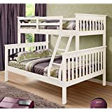 Donco Trading Company 122-3W White Twin/Full Mission Bunk Bed with Attached Ladder