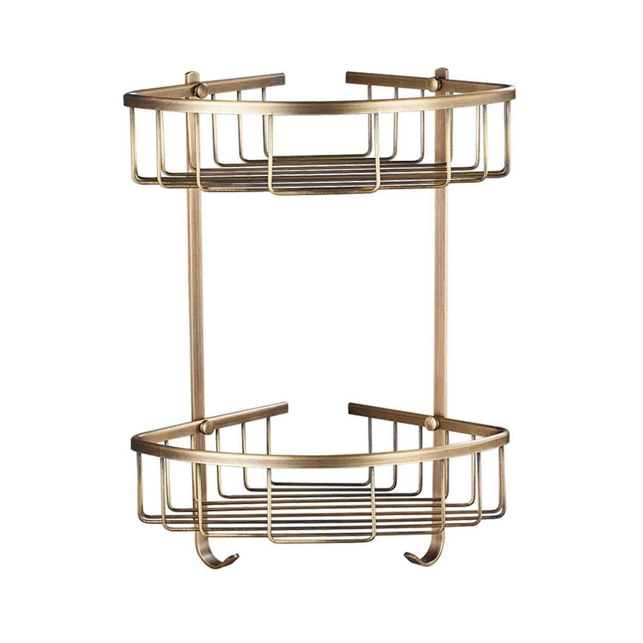 Rozin Dual-Tier Bathroom Kitchen Corner Shelf Shower Caddy Holder Antique Brass