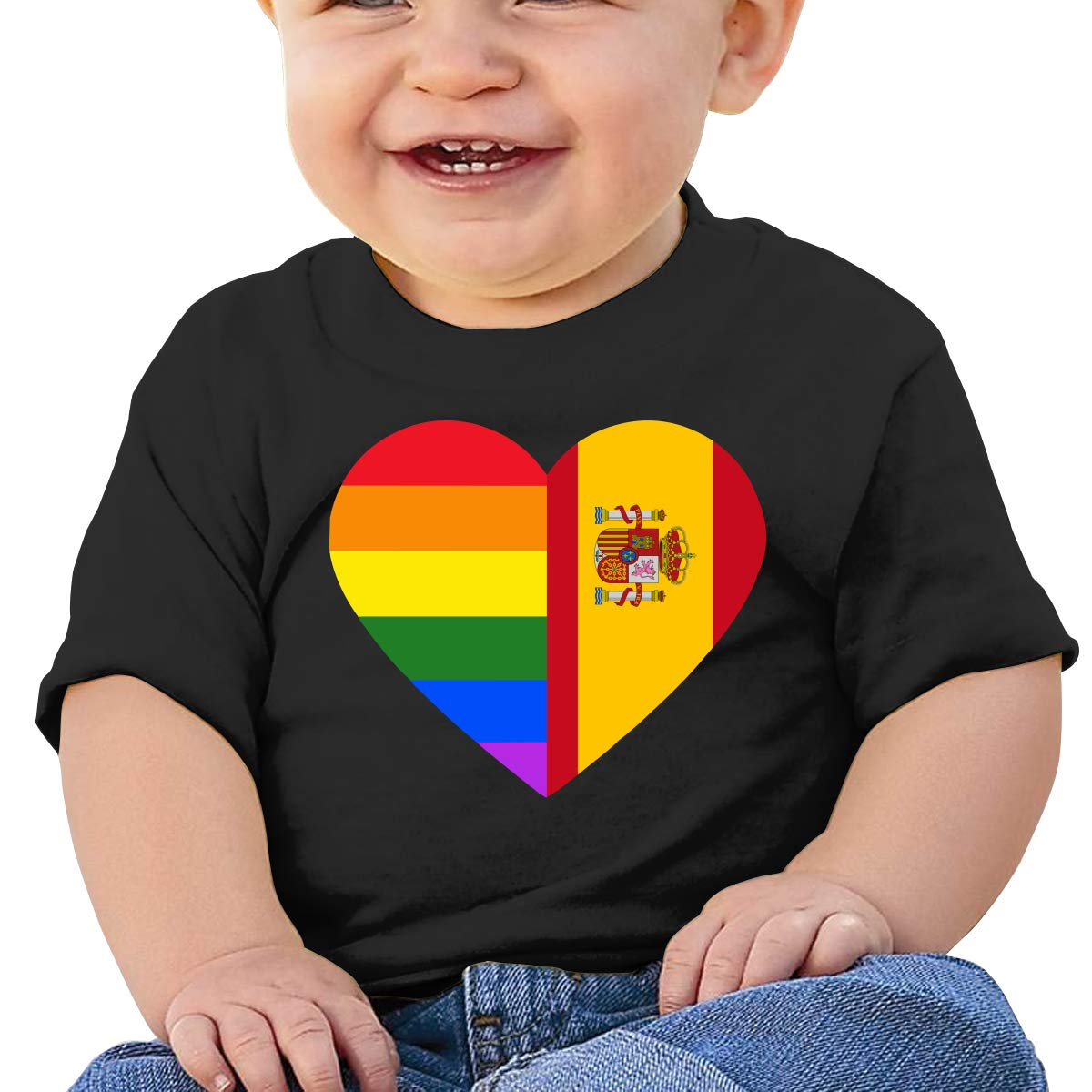 LGBT Rainbow Spain Flag Heart Newborn Baby Newborn Short Sleeve T-Shirt 6-24 Month Soft Tops