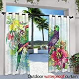 Outdoor Blackout Curtains,Palm Leaf and Tropical Beach KOH Chang, Thailand,W108 x L84 Thermal