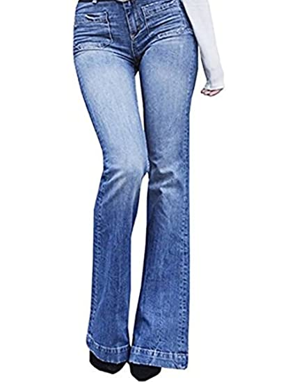 c6ca7a1f381 Outgobuy Women s Fashion Casual Flattering Flared Jeans Sexy Kick Flare  Bootcut Pants  Amazon.co.uk  Clothing