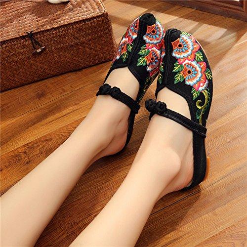 Exotic AvaCostume Rubber AvaCostume Embroidery Wedge Slipper Women Black Sole Women q6Cwnt15