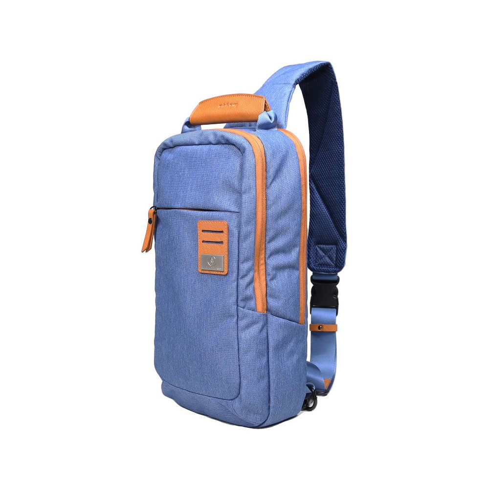 Dpark New Group Series Water-resistant Canvas& PU Sling Chest Shoulder Bag Pack Small Crossbody Backpacks Portable Sport Pack Travel Backpack for Men Women Child (Blue&Yellow)