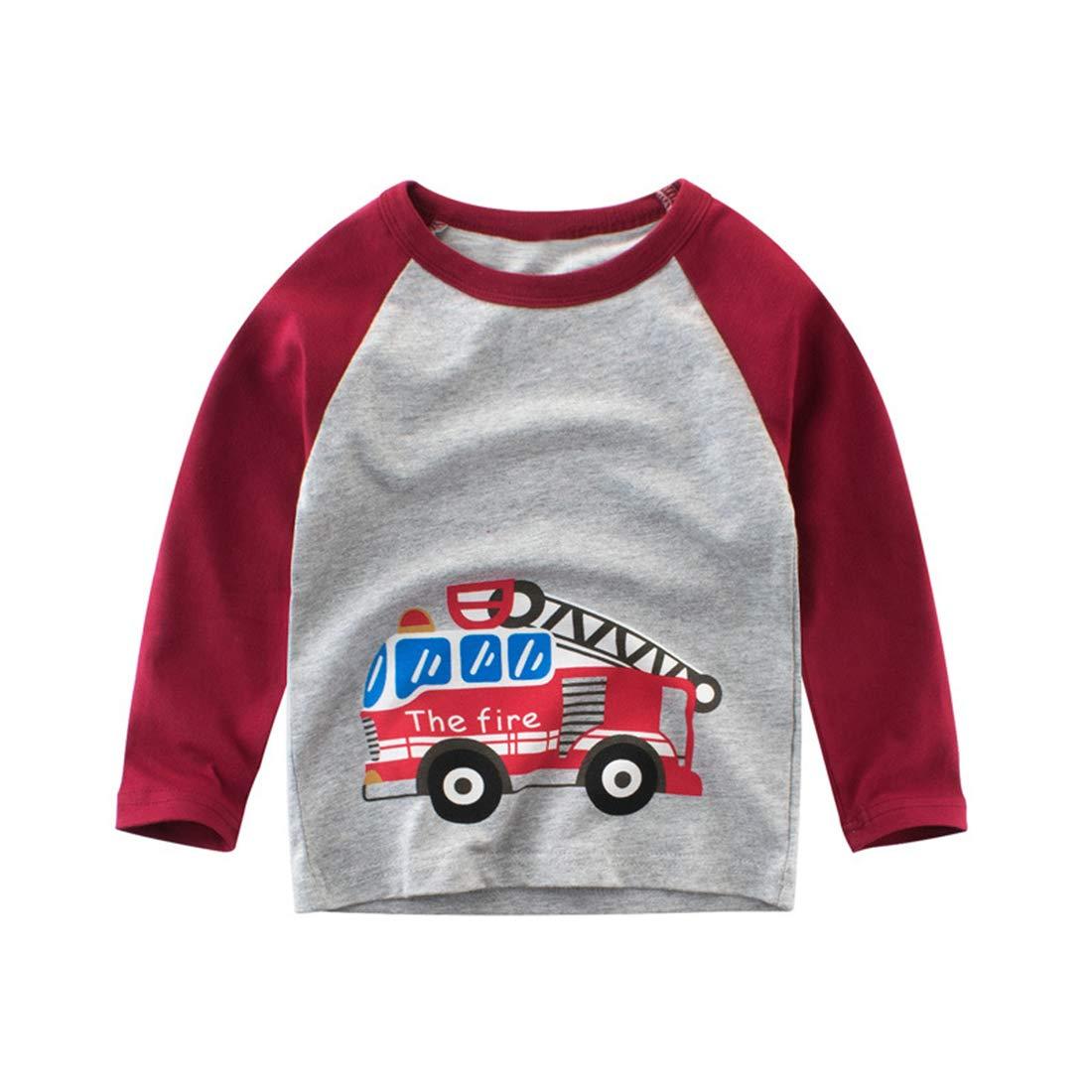Dan Ching Little Boys Kids Long Sleeve T-Shirts Fire Truck 5 Gray
