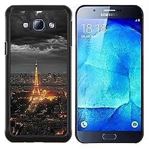 - TOURIST NIGHT EIFEL CLOUDS CITY PARIS TOWER - Caja del telšŠfono delgado Guardia Armor- For Samsung Galaxy A8 A8000 Devil Case