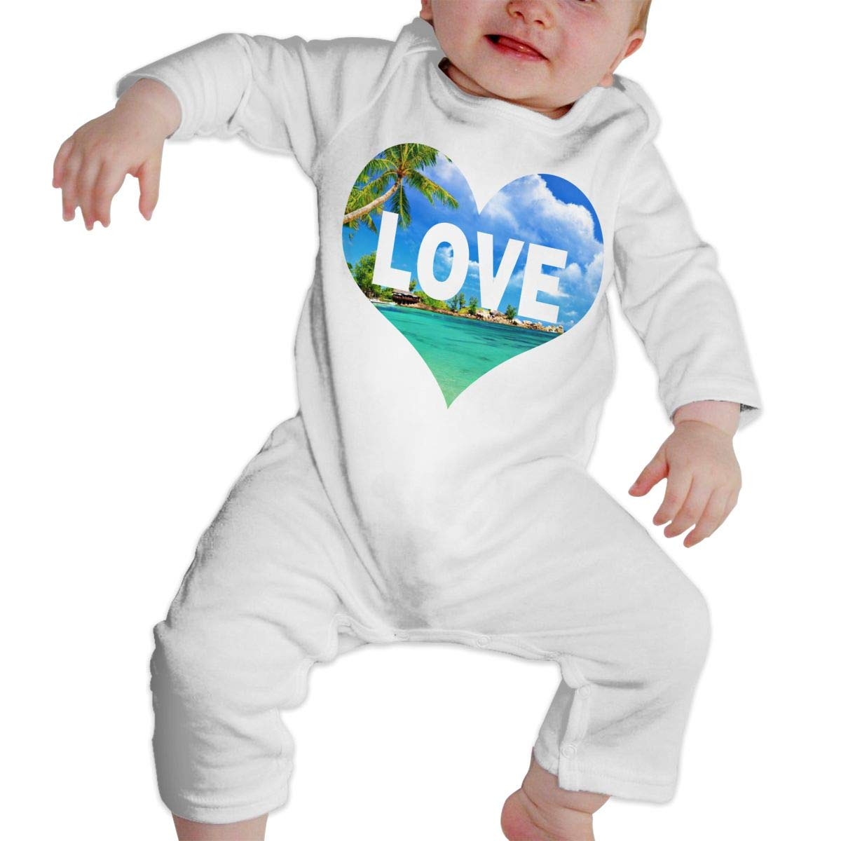Baby Infant Toddler Cotton Long Sleeve Love Beach Climb Romper Funny Printed Romper Clothes