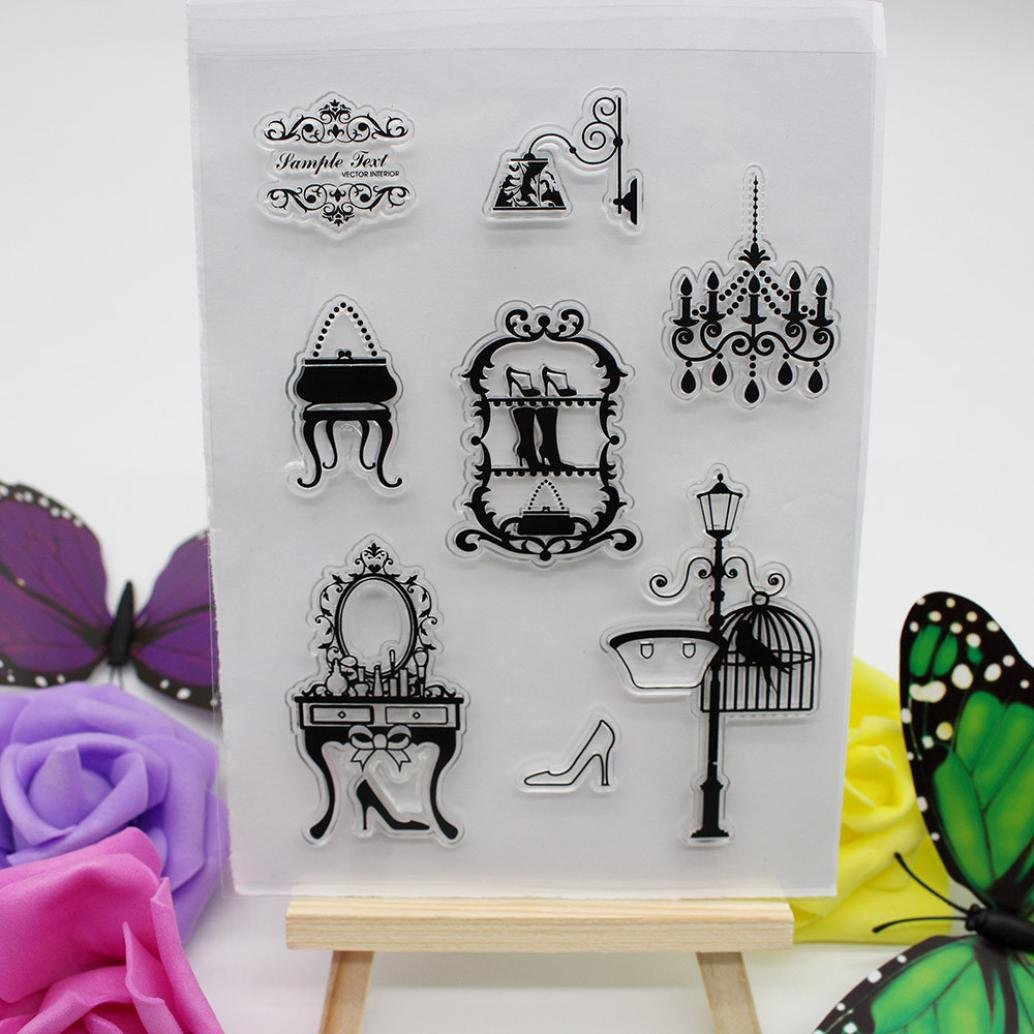 DZT1968 1PC Alphabet Transparent Silicone Clear Rubber Stamp Sheet Cling Scrapbooking DIY 15.5x11cm (O)