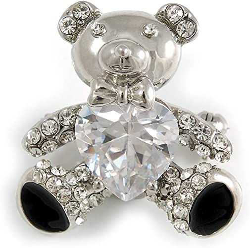 Cute Teddy Bear Face Diamante Crystal Brooch Silver metal Gift  *NEW*