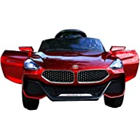 Letzride Electric Ride on Car for Kids with Rechargeable 12V Battery, Music, Lights and Swing, Metallic Red
