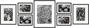 Golden State Art, Set of 7, Aluminum Black Photo Frame with Ivory Color Mat & Real Glass, Metal Wall Photo Frame Collection