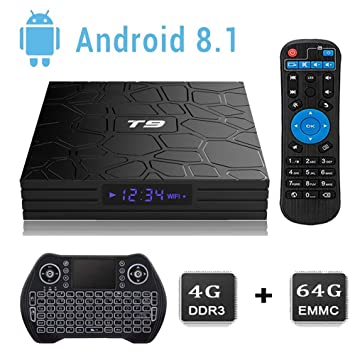 2018 Android 8 1 TV Box, T9 Android Box with 4GB RAM 64GB ROM 4K Ultra HD  Player Supporting 3D /Bluetooth /2 4G WiFi /DLNA /H 265 Mini PC Media  Player