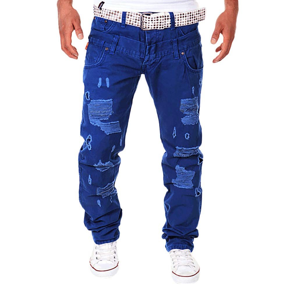 Inverlee-Mens Casual Solid Loose Patchwork Ripped Hole Trousers Cargo Pants