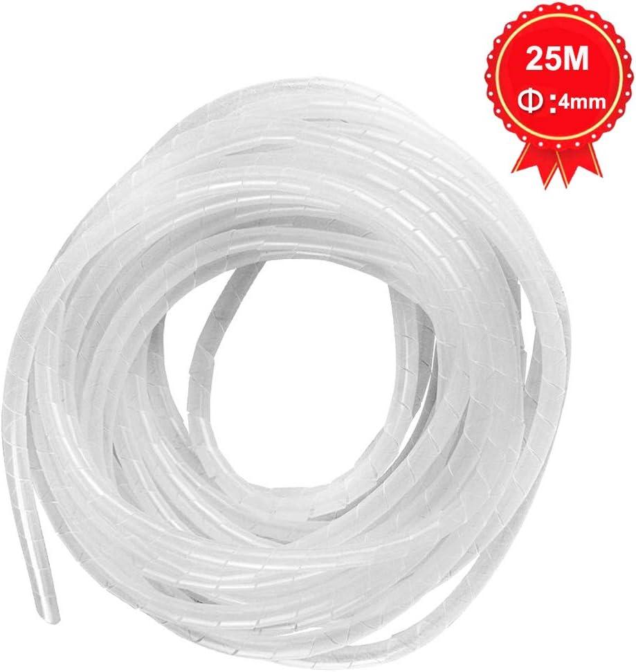 GTIWUNG Gaine Spirale Flexible Universel 4mm Kit de C/âble Rangement de Tube dEnroulement de C/âble en Spirale pour Prot/éger le C/âble dAntenne TV//PC//USB//T/él/é//AUX- 25m Blanc
