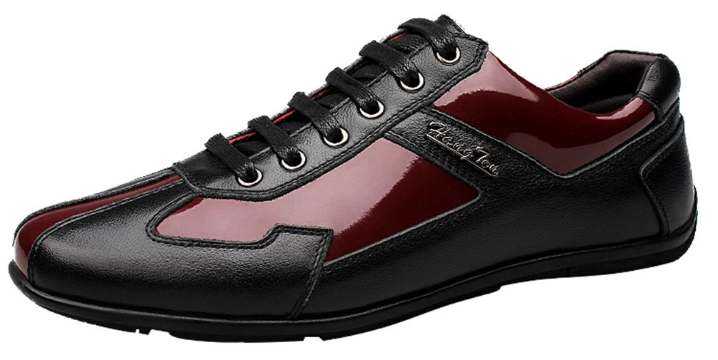 Abby 1619 Mens Fashion Casual Light Weight Lace Up Smart Walking Concise Leather Sneakers 11 D(M) US|Red