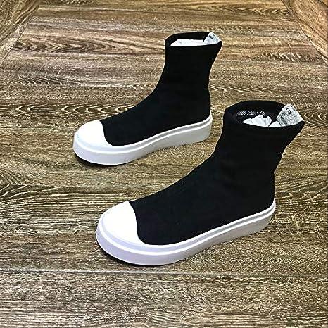 Shukun Botines Otoño e Invierno Esponja Pastel de Fondo Grueso Botas elásticas Botas Ocasionales Martin Boots Mujeres: Amazon.es: Deportes y aire libre