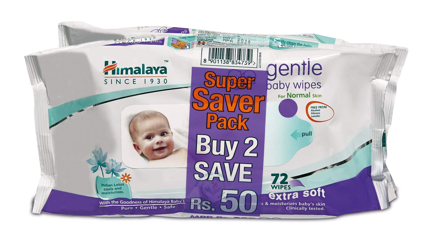 Himalaya Gentle Baby Wipes (72 Napkins Of 2 Packs)