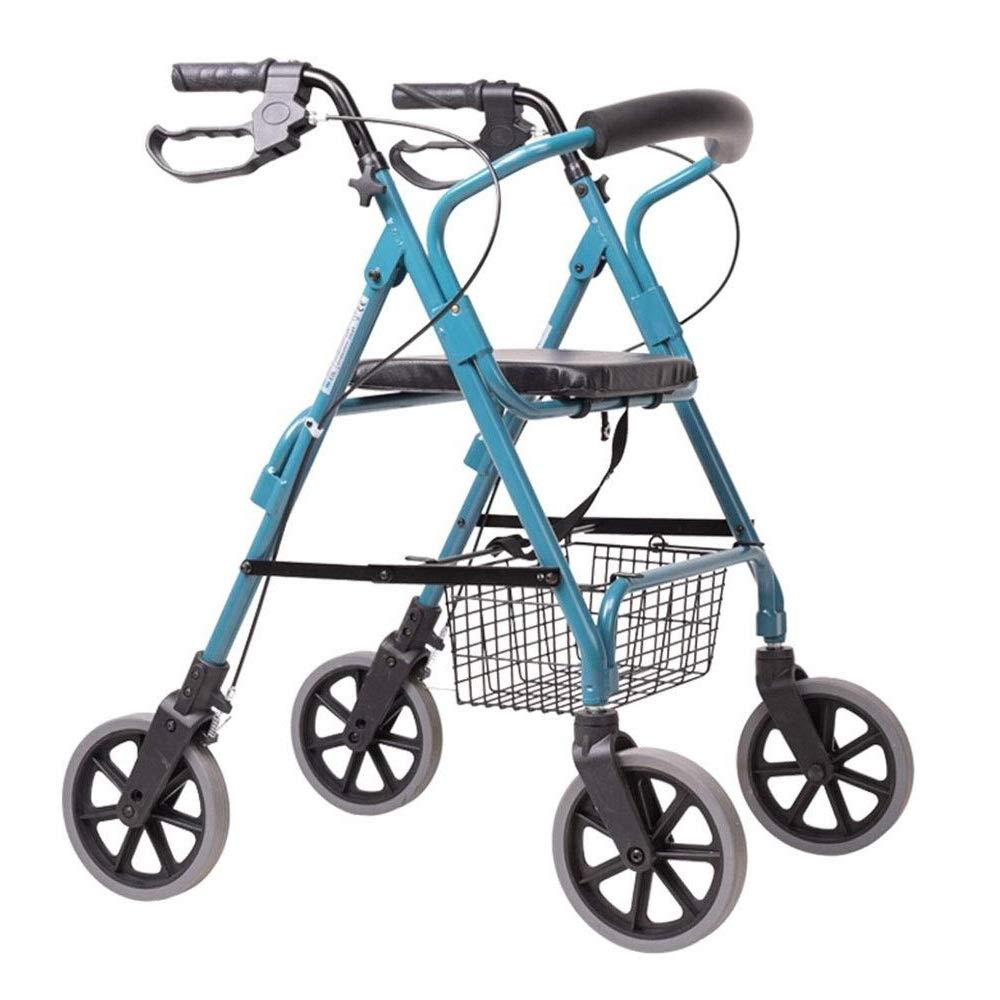 Rollator Walker Petite,Adjustable Handle Height Seating and Shopping Basket Auxiliary Walking Safety Walker by YL WALKER