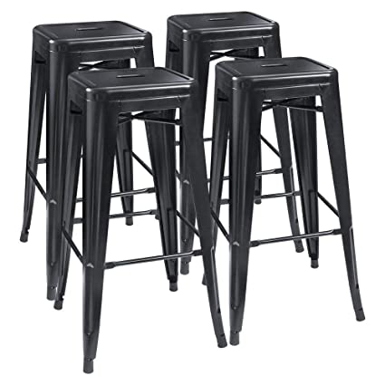 Awe Inspiring Bossin 30 High Metal Stool Backless Industrial Bar Stools Indoor Outdoor Stackable Set Of 4 Matte Black Finish Ncnpc Chair Design For Home Ncnpcorg