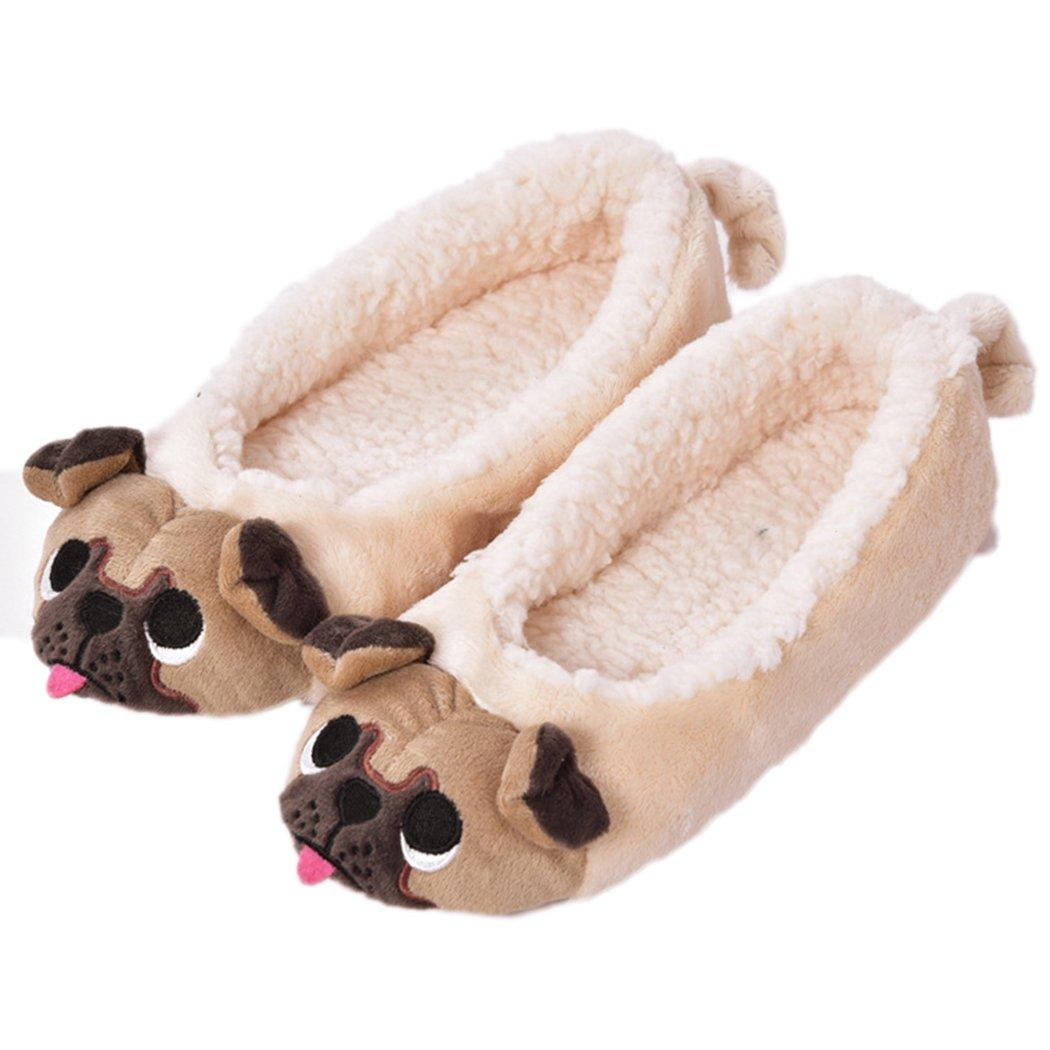 Women's Plush Winter Warm Animal Soft Cute Home Slippers Dog 9-10 B(M) US