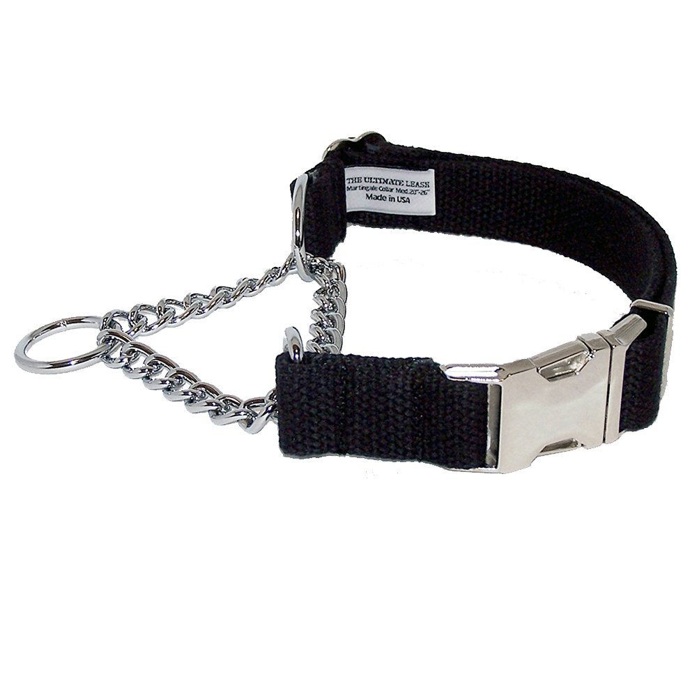 Black Cotton Martingale Dog Collar | Made in the USA | Adjustable, Small, Medium, Large, Top Quality, Premium, Heavy Duty, Durable, Strong, Nickel Plated Steel, Wide, Training - The Ultimate Leash by The Ultimate Leash