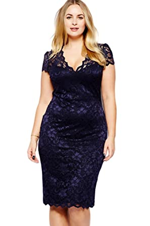 SunShine Plus Size Dress Navy Blue Scalloped V-neck Lace Midi Dress ...