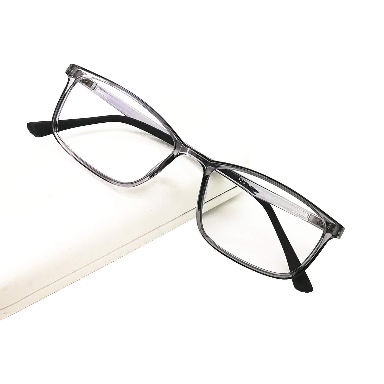 Blue Light Blocking Reading Glasses Computer Eyeglasses Frame Readers for Women Men Medium Small Face(Crystal Grey, 1.25)