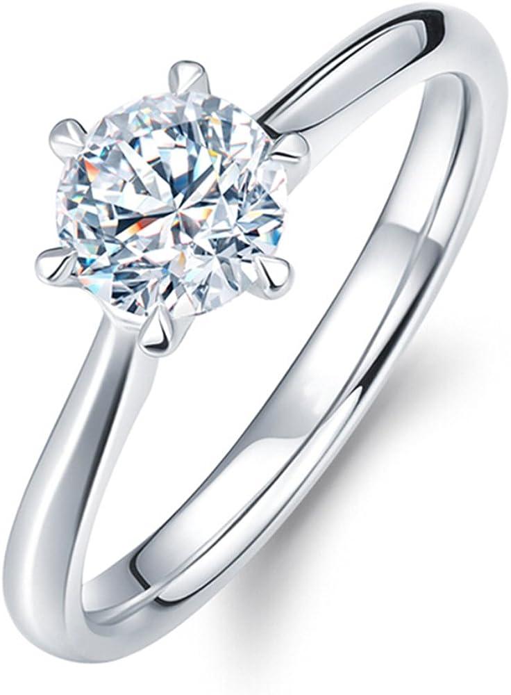 Clásico 6 garras Naturales Diamante Sólido 14K Oro blanco Proposal Promesa Nupcial Anillo Conjuntos para Mujer(0.2cttw, G-H Color, VS-SI1 Claridad)