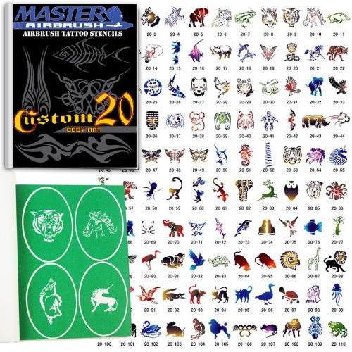 Master Airbrush® Brand Airbrush Tattoo Stencils Set Book #20 Reuseable Tattoo Template Set, Book Contains 110 Unique Stencil Designs, All Patterns Come on High Quality Vinyl Sheets with a Self Adhesive Backing.