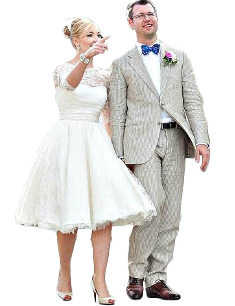 Hot Dresses Vintage Short Lace Wedding Dresses 34 Sleeves Tea