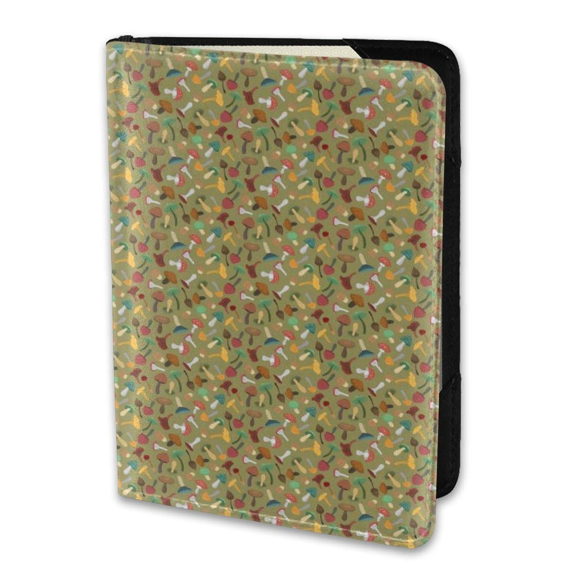 Biahos Leather Passport Cover Mini Cute Mushrooms Colorful Wallet For Passport Case