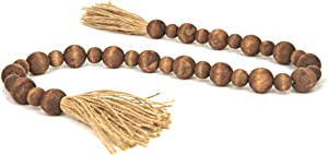 GENMOUS & CO. Wood Bead Garland with Tassels Farmhouse Decorative Wooden Beads Garland Decor Prayer Beads for Rustic Country Wall Hanging Decor 39 Inches( Brown)
