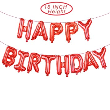 Happy Birthday Red Balloons Banner16 Inch Mylar Foil Letters Reusable Ecofriendly Material For