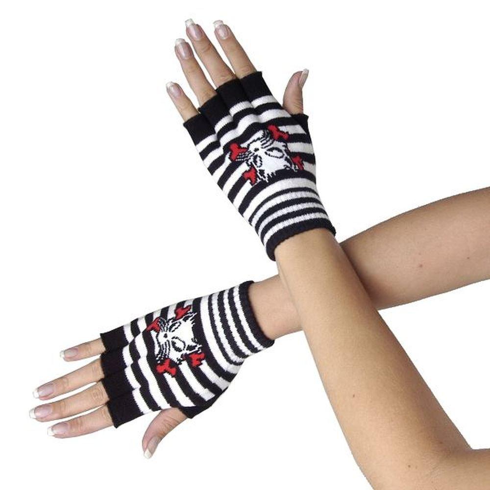 Queen of Darkness, Schwarz/weiße Handschuhe mit Catbone