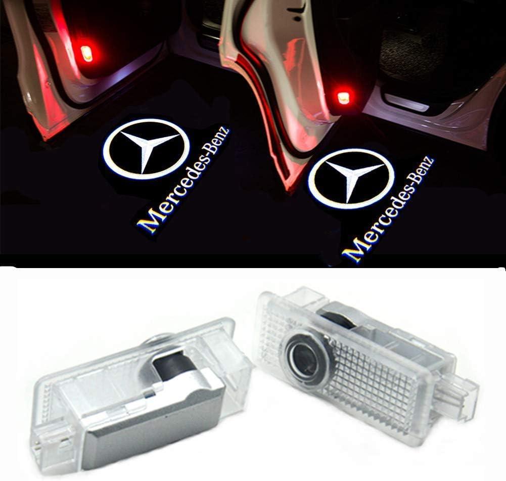 Ztmyzfsl 2 Stücke Auto Logo Projektion Projektor Tür Geister Shadow Light Willkommen Lampe Licht For 2 Cla Auto