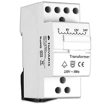 navaris door bell transformer 8v 12v 24v for wired doorbell chimes din rail mountable 8va 230v mains converter 8 12 24 volts output white  12 24v transformer wiring diagram #11
